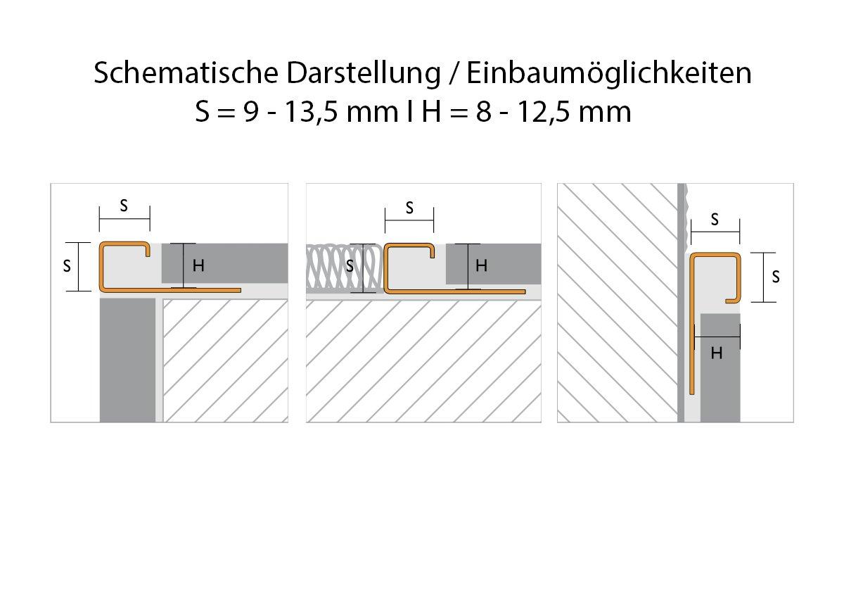 geb/ürstet Fliesenschiene L/änge 2,50 m 12,5 mm H/öhe 5 St/ück Setpreis Quadratprofil Edelstahl V2A Fliesenprofil