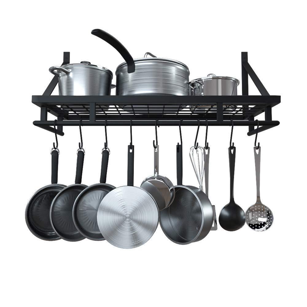 KES 24-Inch Kitchen Wall Mount Pot Pan Rack Wall Shelf With 10 Hooks Matte Black, KUR215S60-BK
