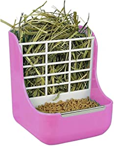 2 in 1 Double Use Thick Hay Food Bin Feeder, Quality Rabbit Feeder Bowls for Grass and Food, Small Animal Supplies Cage Accessories for Rabbit Chinchillas Guinea Pig (Pink)