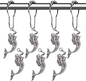 Aimoye Mermaid Shower Curtain Hooks Rings - Silver Metal Curtain Hangers, Decorative Hooks for Bathroom Shower Rods, Bath Room Accessories Set, Sea Beach Theme Bathroom Decor, Set of 12