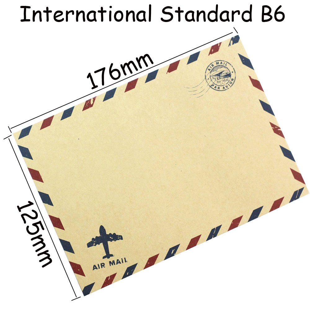 Bolbove Set of 50 Classic AirMail Vintage Style Kraft Paper Postcard Letter Envelopes Invitations (Brown) by Bolbove (Image #4)