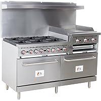 "Cooking Performance Group S60-GS24-N Natural Gas 6 Burner 60"" Range with 24"" Griddle/Broiler and 2 Standard Ovens - 276,000 BTU"