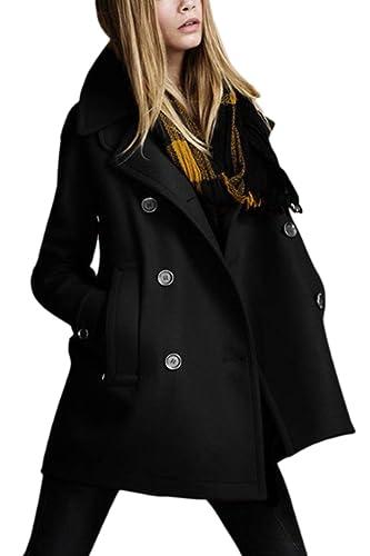La Mujer Invierno Elegante Gabardina Outcoat Lana Doble Botonadura Espesar