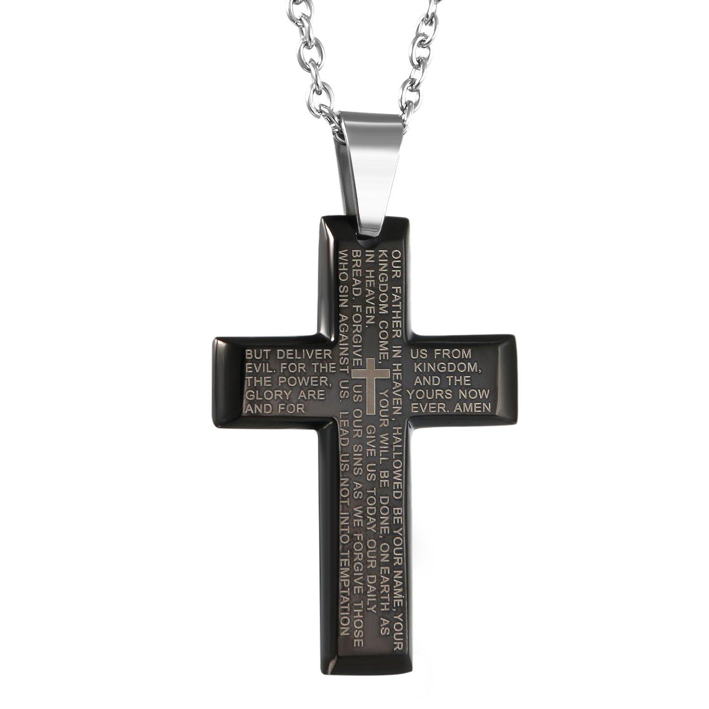 Collier pour hommes Croix en pendentif en acier inoxydable noire avec une cha/îne en argent de 55/cm Oidea