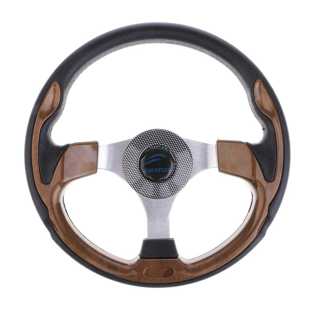 Flameer 12.6'' Dia Boat Steering Wheel 3 Spoke 3/4'' Marine Yacht Sport Wheel & Hub