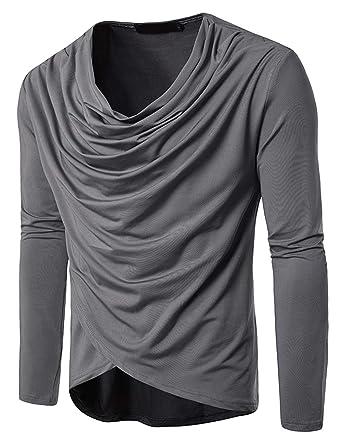 aa719bfc556d T-Shirt Homme Manche Longue Col Bénitier Slim Fit Turtleneck Tee Elastique  Confortable Musculaire Décontracté