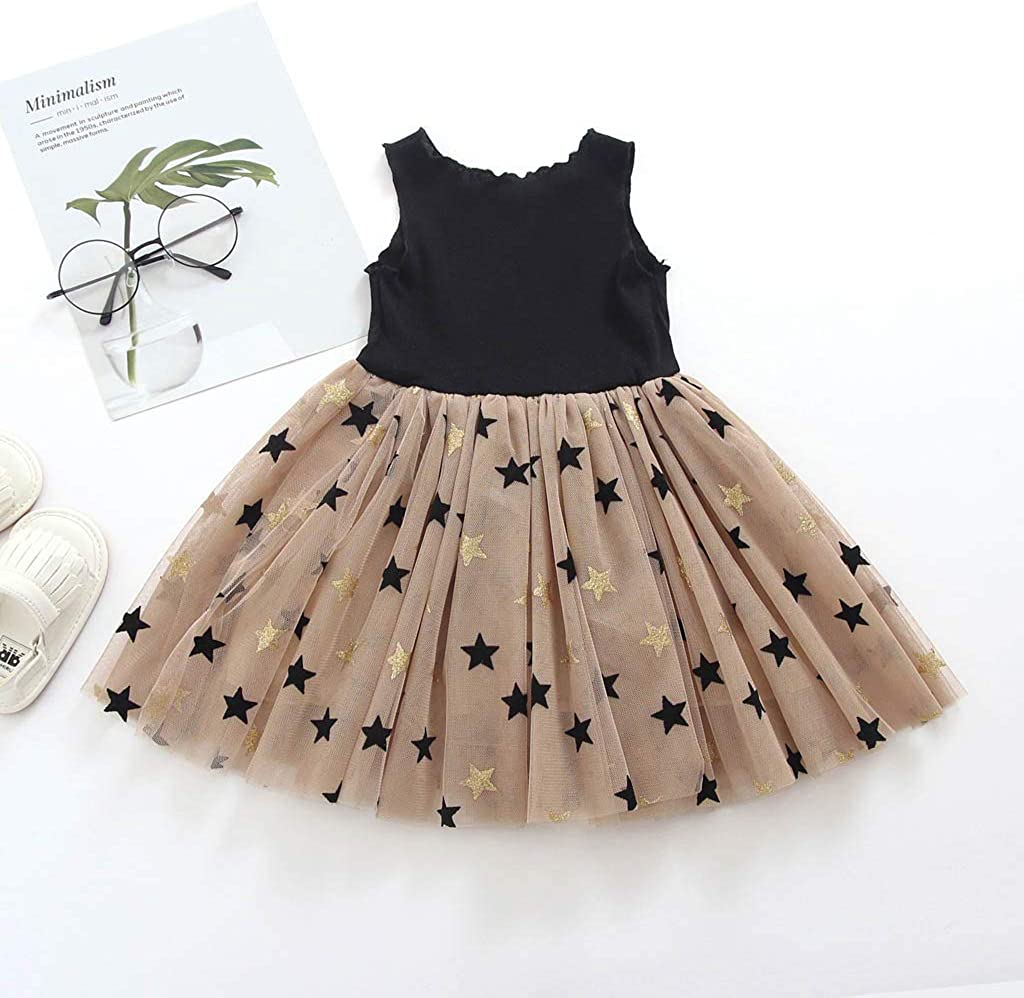 Baby Formal Dress,Fineser Toddler Kids Baby Girls Sleeveless Solid Patchwork Star Tulle Party Princess Skirt Sundress