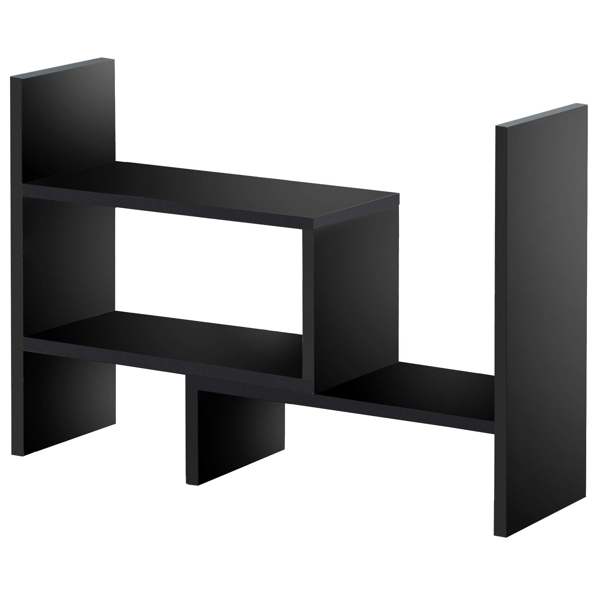 FITUEYES Desktop Organizer Office Storage Rack Adjustable Wood Display Shelf - Free Style Display True Natural Stand Shelf Rack Counter Top BookcasShelf Rack Counter Top Bookcase DT306801WB