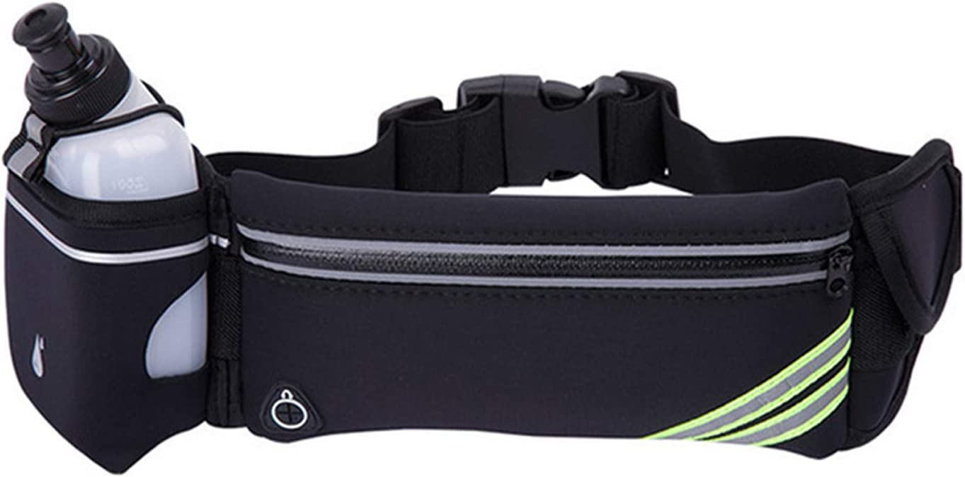 L.O.E. Running Belt with Sport Water Bottle Included- Water Resistant Slim Waist Pack Fits All Phones – Running Hiking Climbing Biking Jogging Fanny Pack for Men and Women – One Size Fits All