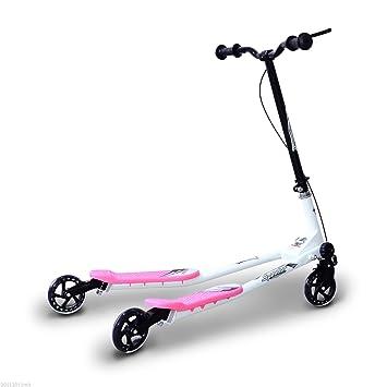 HOMCOM Patinete Scooter de 3 Ruedas Plegable Scooter de Oscilación Reductor para Niños con Freno Manillar Ajustable Carga 60kg 91x60x80cm Marco Acero