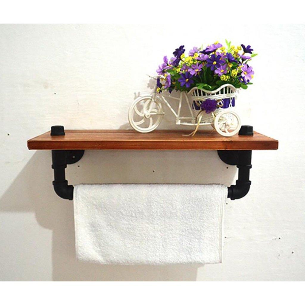60cm Iron Retro Bookcase LOFT Solid Wooden Bookshelf Iron Shelf Wall Mount Shelf Display Flower Stand Retro Wall Set ( Size   60cm )