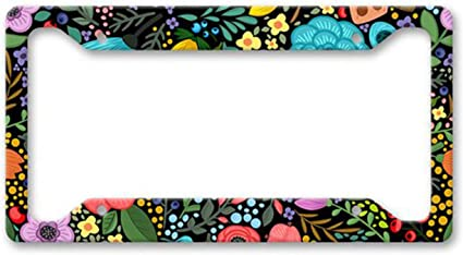 Art Floral Personalized Stainless Steel Metal Auto Tag Cover Color Flower Pattern Design License Plate Frame 2 Holes and Screws for Universal Fit