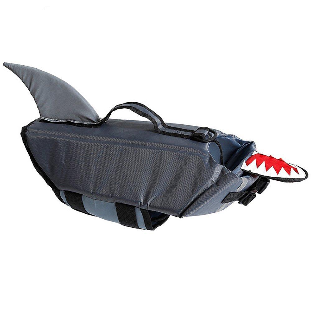 Urijk Dog Life Jacket Cartoon Shark & Duck, Fashion Ripstop Pet Floatation Life Vest, Adjustable Dog Lifesaver Lifejackets Safety Preserver Swimsuit for Small Medium Large Dogs (S, Shark)