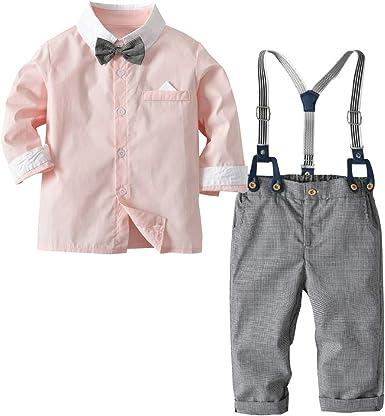 Camisa de Manga Larga con Pajarita + pantalón de Liga para bebés y niños pequeños, Trajes de Traje de Mono de Color de Primavera y Contraste en Color de Contraste: Amazon.es: Ropa
