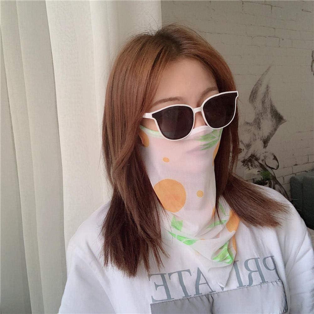 Bayrick Máscara de protección Solar para el Verano, máscara para el Cuello con protección UV Femenina, máscara de Velo de Seda Fina y Transpirable para Hielo-Naranja Coreana (máscara Individual)