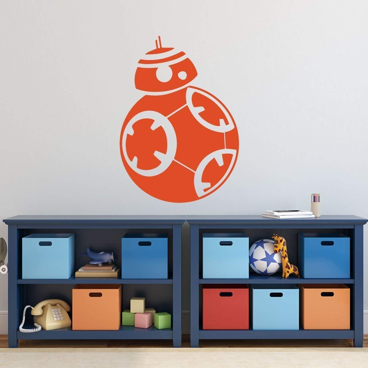 Custom star wars bb8 wall decal personalized name vinyl sticker decor for kids bedroom playroom baby nursery preschool classroom black white blue