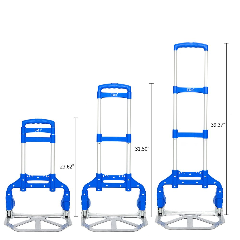 FCH Hand Truck 165lbs Capacity Aluminum Portable Folding Trolley Dolly Cart Ideal for Home Auto Office,Travel Use,Blue