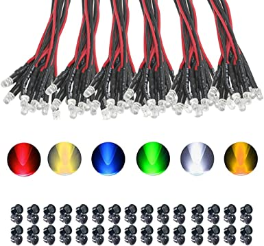 10 Piece LED 3mm e.g than domestic Lighting Cold White 9-12V Pre Wired C3338