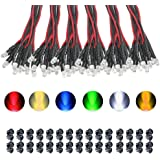KeeYees 60Pcs 3mm Pre Wired LED Diodes Light Ultra Bright -White Warm White Red Blue Green Yellow (10PCS X 6 Colors…