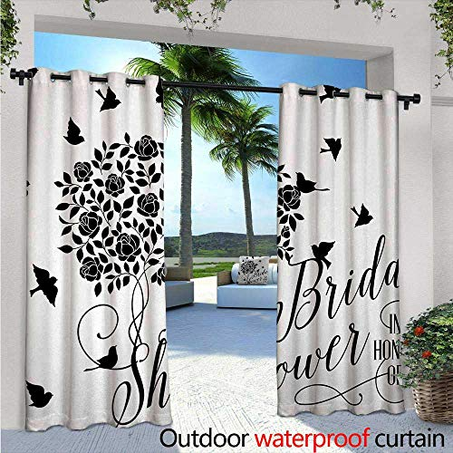 Bridal Shower Exterior/Outside Curtains W96 x L84 Flowers Roses Leaves Swirls Birds Bride Party Theme Work of Art Print for Patio Light Block Heat Out Water Proof Drape Black and ()