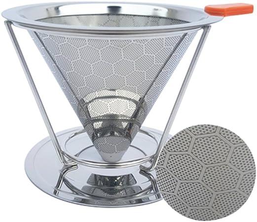 liitrton Creative pour over de acero inoxidable Filtro de café reutilizable papel con malla fina cafetera goteo: Amazon.es: Hogar
