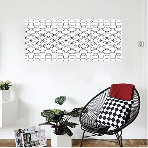 Liguo88 Custom canvas Geometric Circle Decor Artistic Various Overlap Dynamic Inner Oval Motifs Retro Print Wall Hanging for Bedroom Living Room Black White (Linen White Touch Up Paint)