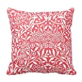 Decorative Square Pillow Case 18X18 Inches - Red Floral Damask Pattern Pillow Case