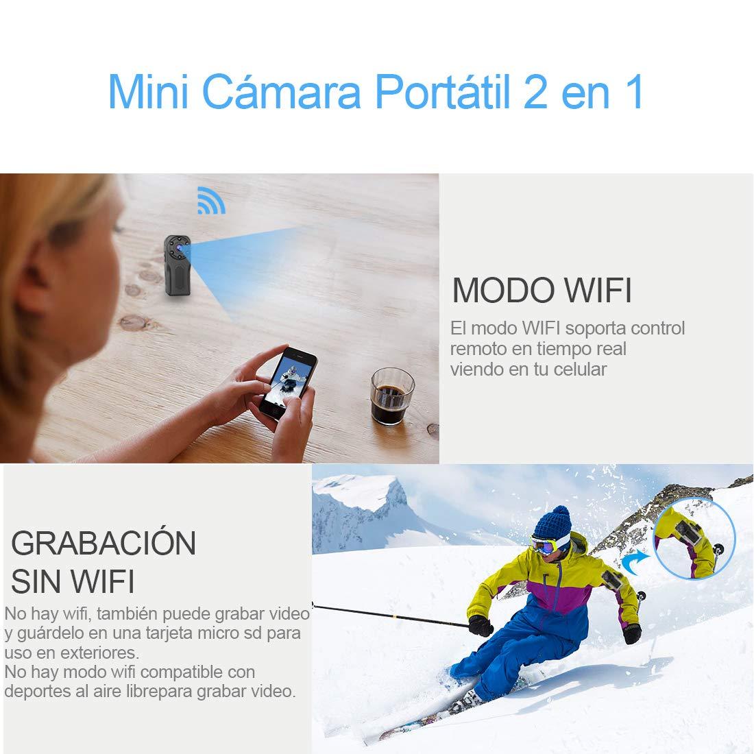 Mini Camara Espia Oculta WiFi Acuatica, NIYPS 1080P Full HD Cámara Vigilancia Portátil Secreta Compacta con Detector de Movimiento IR Visión Nocturna, ...