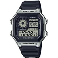 Casio Men's 10-Year Battery Japanese Quartz Watch with Resin Strap, Black, 21 (Model: AE-1200WH-1CVCF)
