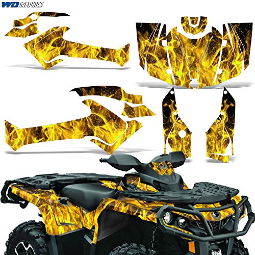 (Can-Am Outlander SST G2 XT 500/650/800R/1000 2012-2016 Graphic Kit Decal Sticker FLAMES YELLOW)