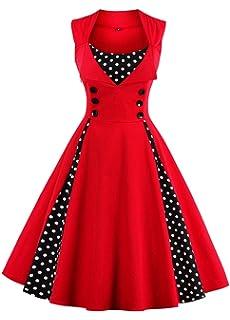 618c03d424b7 VERNASSA 50s Retro Dresses, Women's 1950s Vintage A-Line Cotton Swing Dress  for Rockabilly