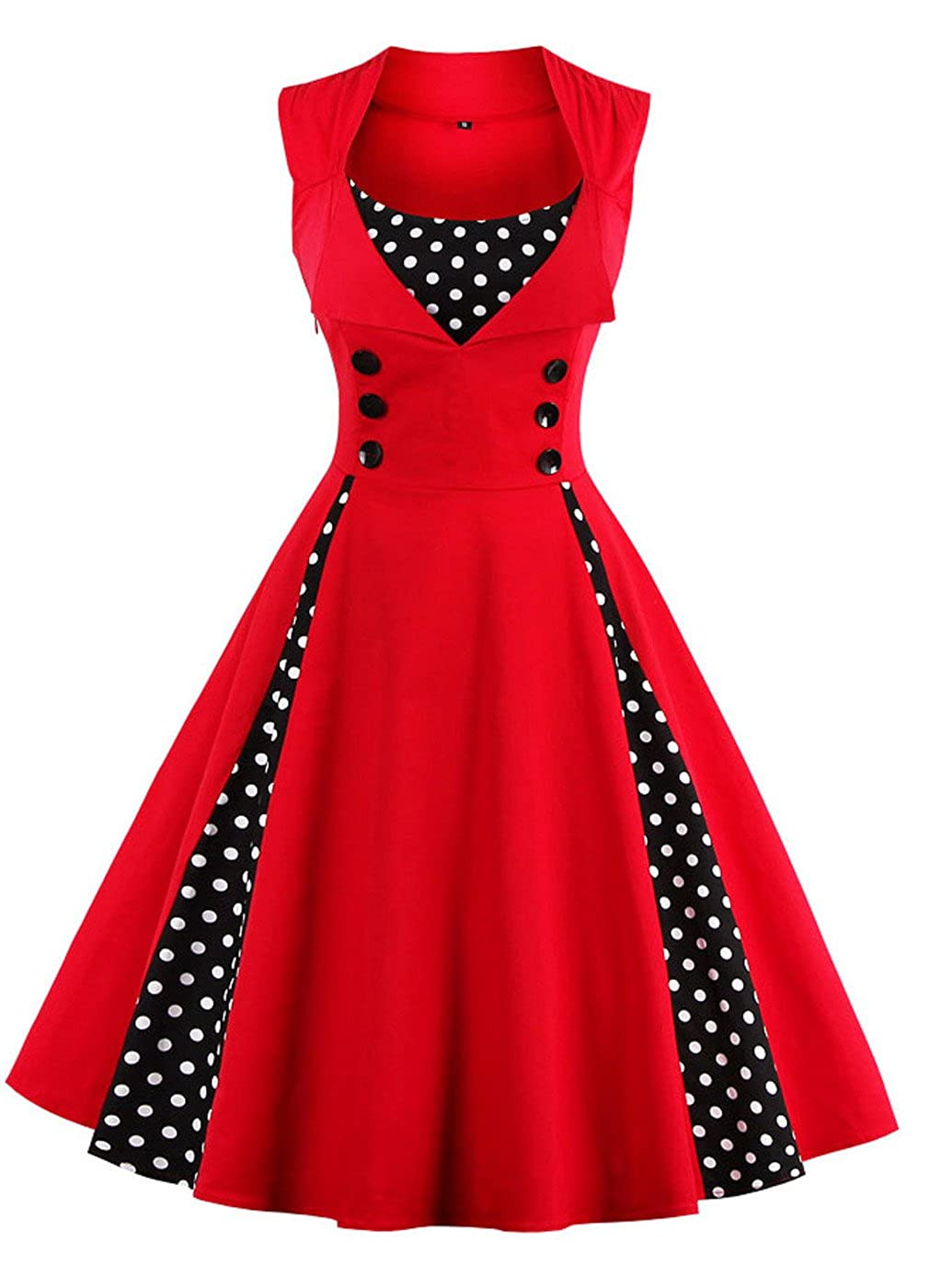TALLA 3XL. VERNASSA 50s Vestidos Vintage,Mujeres 1950s Vintage A-Line Rockabilly Clásico Verano Dress for Evening Party Cocktail, S-Plus Size 4XL 1357-rojo 3XL