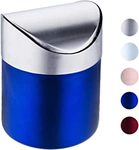 Mini Trash Can with Lid, Brushed Stainless Steel Small Tiny Mini Trash Bin Can, Mini Countertop Trash Cans for Desk Car Office Kitchen, Swing Top Trash Bin 1.5 L/0.40 Gal (Blue)