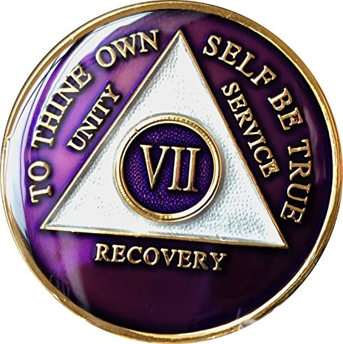 7 Year AA Medallion Metallic Purple Tri-Plate Gold Plated Chip VII