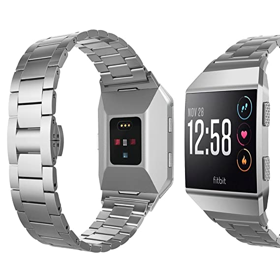 For Fitbit Ionic Band, UMTELE Super Slim Stainless Steel Band Lightweight Metal Strap with Butterfly Clasp for Fitbit Ionic Smart Watch, Silver