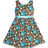 JX35 Girls Dress Flower Coffee Summer Beach Dress Size 9-10