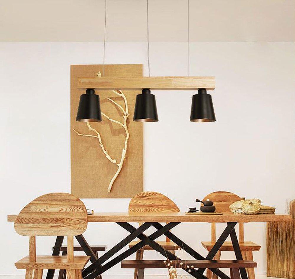 LED Pendelleuchte Esstisch Hängeleuchte Holz Hängelampe 3-flammig Pendellampe Warmweiß für Esszimmer Schlafzimmer Wohnzimmer Büro Cafe Restaurant(Schwarz)