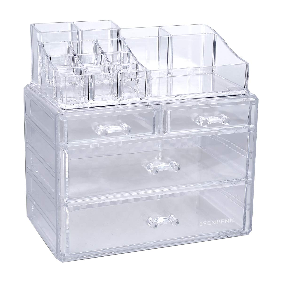 Makeup Storage Organiser, ISENPENK Clear Crystal Acrylic Cosmetic With 4 Drawers, 2 Separated Piece Set, Makeup Accessories/Jewellery/Nail Polish/Earrings Large Capacity Organiser Case Display, Gifts