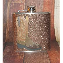 Brown Sparkly Glitter Western Cowgirl Cowboy Boot Boots 8 oz Stainless Steel Liquor Bar Hip Flask Flasks Party Gift