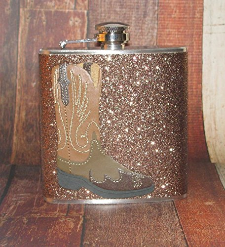 Brown Sparkly Glitter Western Cowgirl Cowboy Boot Boots 8 oz Stainless Steel Liquor Bar Hip Flask Flasks Party (Cowboy Wedding Ideas)