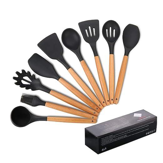 Utensilios de cocina de silicona, antiadherente Mreechan con mango de madera para utensilios de cocina antiadherentes - Juegos de cocina Gadgets(9 ...