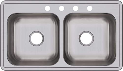Elkay DSE233194 Dayton Equal Double Bowl Drop-in Stainless Steel Sink