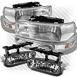 Xtune for 1999-2002 Chevy Silverado, 2000-2006 Tahoe/Suburban Headlights Bumper Set + Clear Fog Lights 2001 2003 2004 2005