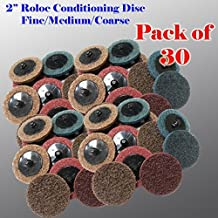 "30 Mix 2"" Roloc Surface Conditioning Sanding Disc Fine Medium Coarse Prep Pads Surface prepare gasket removal cleaning Type R Thread in"