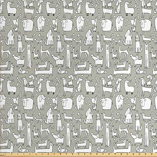 Lunarable Dog Bone Fabric by The Yard, Composition of Doodle Dog Print with Labrador Hound Pug Dachshund Breeds, Decorative Fabric for Upholstery and Home Accents, 1 Yard, Sage Green White