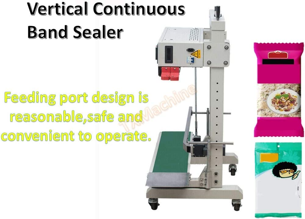 TX/® Continuous Band Sealer Continuous Sealing Machine FR-1100V Vertical Automatic Continuous Sealing Machine Vertical Band Sealer for PE film large articles Thick bag with Digital Temperature Control