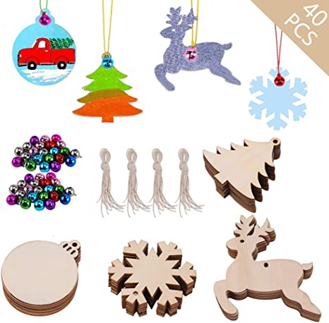Blank Christmas Hanging Ornaments Unfinished Wood Cutouts for Holiday Gifts and Christmas Decorations JOYIN 48 Pack Wooden Christmas Ornaments Craft Kit for DIY