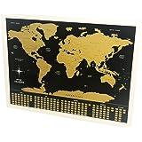 Mapa de Raspar Mundi Raspadinha Preto e Dourado - Papel Laminado - 82x60cm - Não Rasga