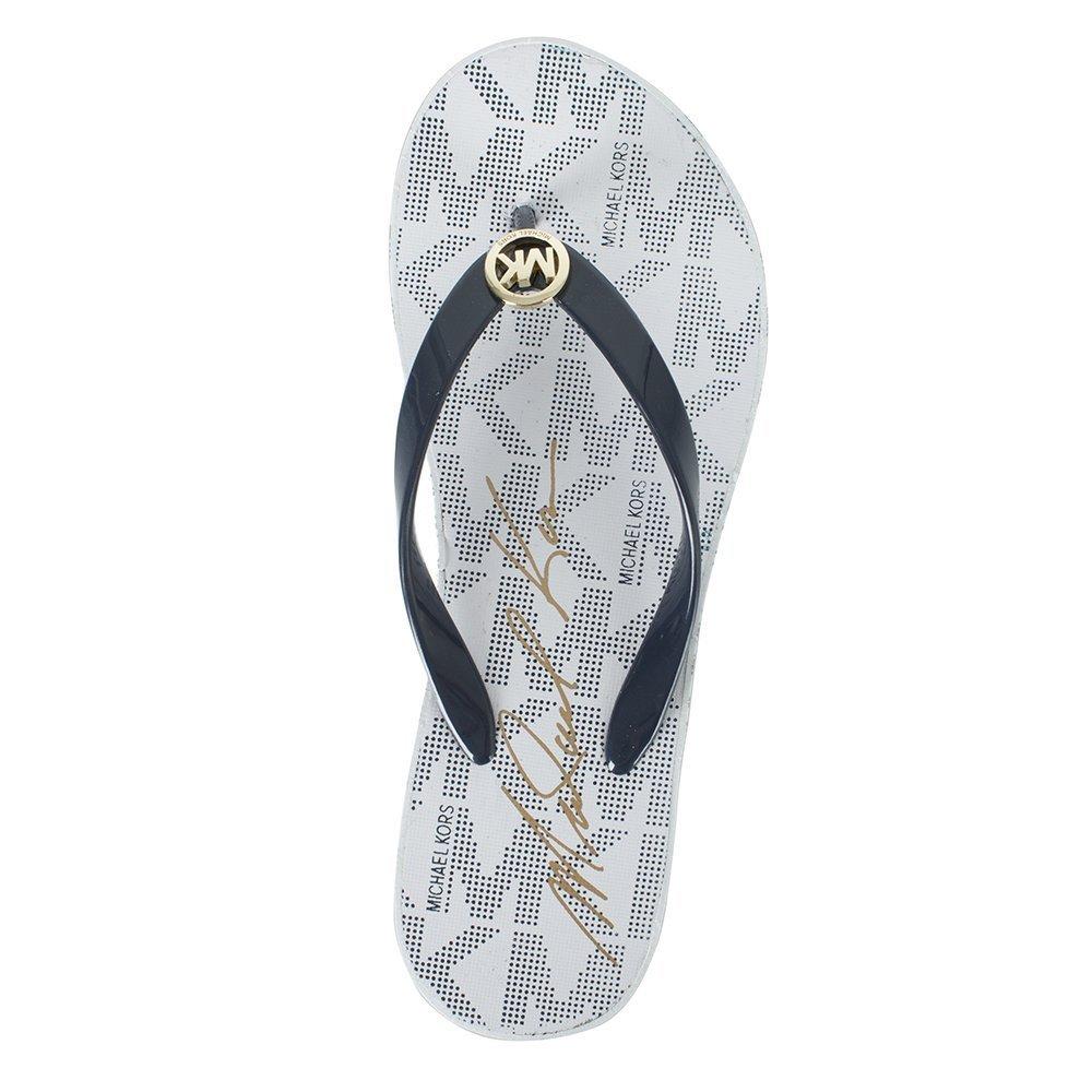 61ed3949960 Michael Kors Navy Bedford Toe Logo Print Toe Post Platform Sandal 37 Navy  Fabric  Amazon.co.uk  Shoes   Bags
