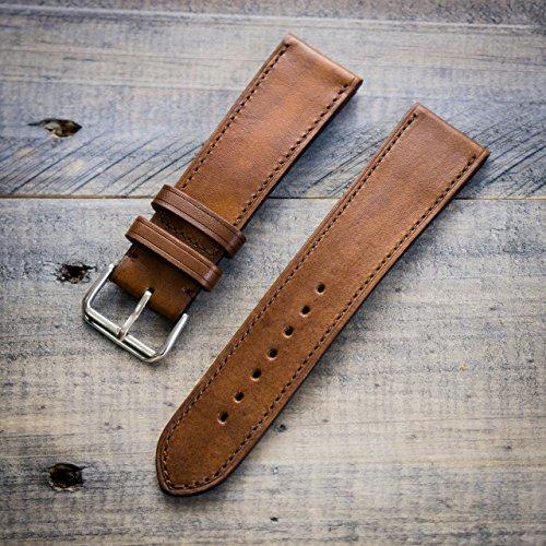 Hannson Leather Watch Band 22 mm Medium 115/75 (Dark Brown With Matching Stitching)